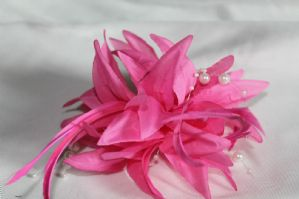 Pink Fascinator - Pink Beaded Hair Fascinator